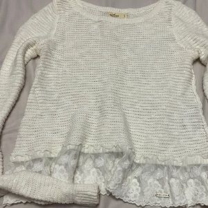 Hollister White lace trim sweater